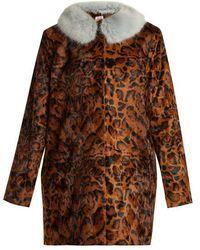Shrimps - Papa Puss Leopard-print Faux-fur Coat - Lyst