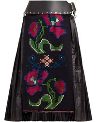 Chopova Lowena Floral-embroidered Wool And Technical Fabric Skirt - Black