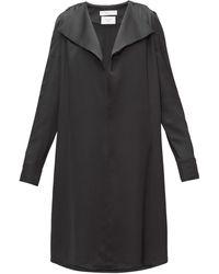 Bottega Veneta ワイドラペル シルクサテンドレス - ブラック