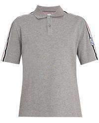 Moncler Gamme Bleu Contrast Collar Cotton Piqué Polo Shirt - Gray