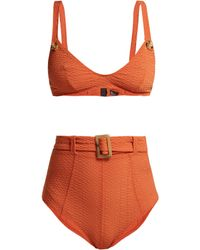 Lisa Marie Fernandez Bikini taille haute ceinturée Magdalena - Orange
