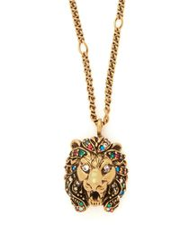 Gucci Lion Crystal-embellished Pendant Necklace - Metallic