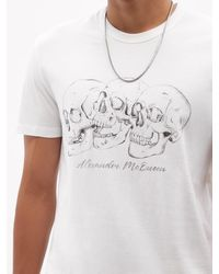 Alexander McQueen ラシュモアスカル コットンtシャツ - ホワイト