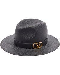 Valentino Garavani - Chapeau de paille à finitions en cuir et V-Logo - Lyst