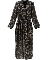Dundas Metallic Leaf-embroidered Silk-blend Chiffon Dress - Black