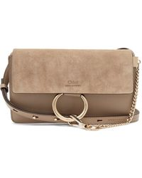 Chloé Faye Mini Leather And Suede Cross Body Bag - Gray