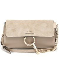Chloé Faye Mini Leather And Suede Cross-body Bag - Gray