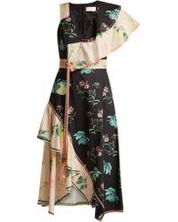 Peter Pilotto One Shoulder Floral Print Cotton Dress - Multicolour