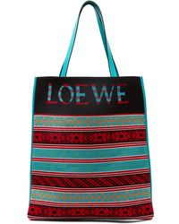 Loewe - Vertical Leather And Wool Jacquard Tote Bag - Lyst