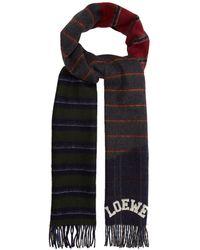 Loewe - Varsity Striped Wool-blend Scarf - Lyst