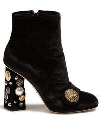 Dolce & Gabbana - Embellished-heel Velvet Ankle Boots - Lyst