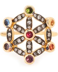 Noor Fares - Diamond, Multi Stone & Yellow Gold Pinky Ring - Lyst
