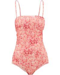 Adriana Degreas Square-neck Hydrangea-print Swimsuit - Pink