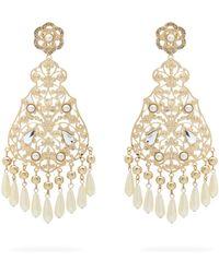 Etro Faux Pearl And Crystal Chandelier Earrings - Metallic