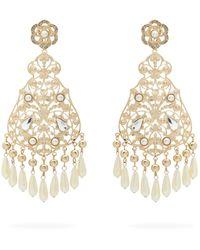 Etro Faux-pearl And Crystal Chandelier Earrings - Metallic