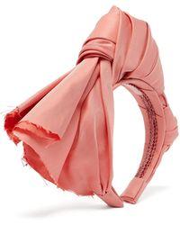 Marta Ferri Knotted Silk-faille Headband - Pink