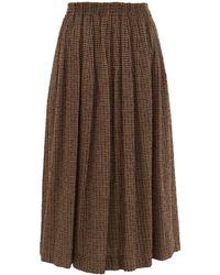 Raey Elasticated-waist Textured Tweed Full Skirt - Brown