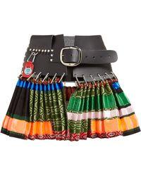 Chopova Lowena Pleated Leather And Wool Mini Skirt - Multicolour