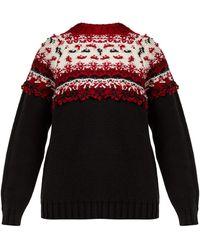 Moncler - ロゴ ウールジャカードセーター - Lyst