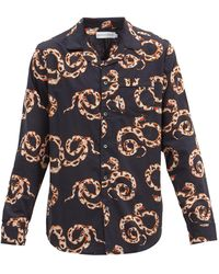 Desmond & Dempsey The Kaa Snake-print Cotton Pyjama Shirt - Blue