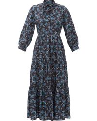 Cefinn オリヴィア フローラル ツイルドレス - ブルー