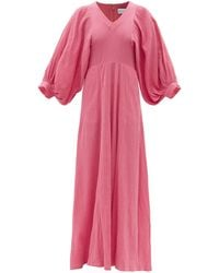 Raey Balloon-sleeve Cotton-cheesecloth Maxi Dress - Pink