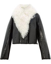 Loewe Shearling-trimmed Cropped Leather Jacket - Black