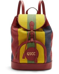 Gucci - バイアデラ ストライプ キャンバスバックパック - Lyst