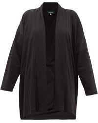 Eskandar Shawl Collar Pima Cotton-jersey Cardigan - Black