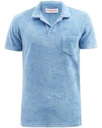 Orlebar Brown テリー チェストポケット コットンポロシャツ - ブルー