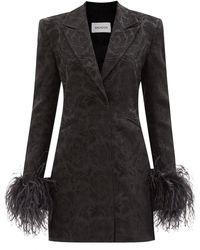 16Arlington キク フェザートリム フローラルブロケードドレス - ブラック