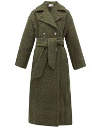 Ganni Belted Double-breasted Wool-blend Coat - Green