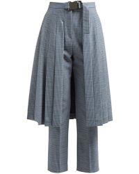 Fendi - Pleated Skirt Panel Wool Blend Tweed Trousers - Lyst
