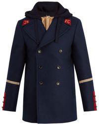 Gucci - Manteau en laine à capuche amovible Caban - Lyst