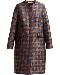 Marni - Houndstooth Print Silk Lined Coat - Lyst