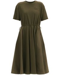 Moncler ダブルロゴ ドローストリング コットンtシャツドレス - グリーン