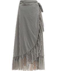 Ganni Ruffle-trim Gingham-print Mesh Wrap Skirt - Multicolour