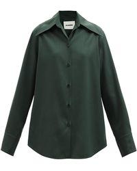 Jil Sander オーバーサイズ ウールギャバジンシャツ - グリーン