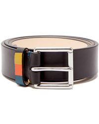 Paul Smith Artist Stripe Leather Belt - Black