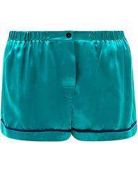 Araks Tia Washed-silk Pyjama Shorts - Green