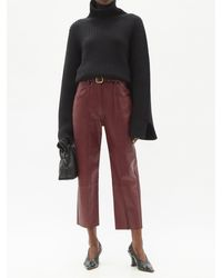 Petar Petrov Pollis B Belted Leather Cropped Trousers - Red