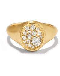 Jade Trau Chevalière en or 18 carats et diamants Oval - Métallisé