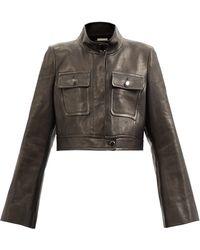 Khaite Carlisle Cropped Leather Jacket - Black