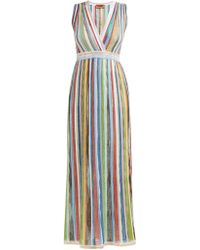 Missoni Sequinned Striped Lamé Gown - Blue