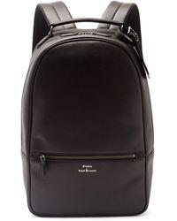 Polo Ralph Lauren エンボスロゴ レザーバックパック - ブラック