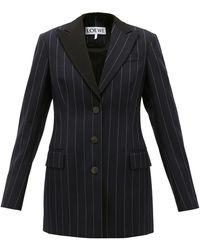 Loewe Pinstriped Single-breasted Wool Jacket - Blue