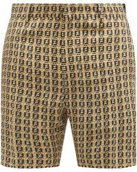 Fendi Ff-print Crepe Bermuda Shorts - Natural