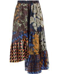 Biyan Jupe midi en sergé de soie patchwork Nirwana - Multicolore