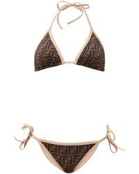 Fendi Ff-print Self-tie Bikini - Natural
