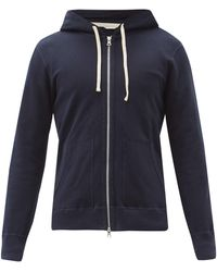 Reigning Champ Zipped Cotton-terry Hooded Sweatshirt - Blue
